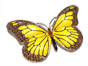 Silver Plated Yellow Enamel Butterfly Brooch with Topaz Crystal Rhinestones