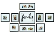 Gallery Perfect 9 Piece Wood Family Photo Frame Wall Gallery Kit, Black