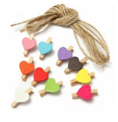 iTemer 10 Pcs Colourful Wooden Craft Clips for Hanging Photo Paper Display Mini Peg with 140cm Rope