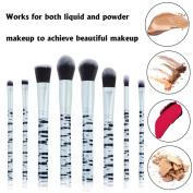 certainPL 8 Pcs Marble Makeup Brush Set Eye Shadow Brush Cosmetics Blending Brush Tool