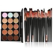 certainPL 15 Colours Contour Face Cream Makeup Concealer Palette Professional + 20 Brush