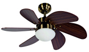 Akunadecor 009 Ceiling Fan with LED Light and Remote Control, 77 cm, leather and Cherry Wood Finish