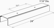 MONUMENT 2489653 U-Channel Ceiling Fixture Replacement Glass, White, 60cm , 4per Box -