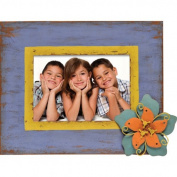 Caffco International Metal Picture Frame with Layered Flower Magnet Memorabilia Holder, Holds a 13cm by 18cm Photo, Distressed Blue with Yellow