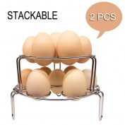 Egg Cooker Steamer Rack Basket Stand Pressure Cooker Multifunction Stackable Steaming Rack Stainless Steel 304 IP Instant Pot Trivet Kitchen Food Vegetable Cooking Gadget 2 PCS