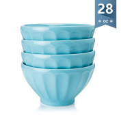 Sweese Porcelain Fluted Latte Bowl Set - 830ml Stable and Deep - Microwavable Bowls for Cereal, Soup - Set of 4, Baby Blue