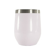 GDS 350ml Stainless Steel Wine Glasses, Wine Cup, Wine Tumbler Sippy Cup with Lid for Red Wine, Cocktail, Liquors and Nonalcoholic Beverages, White