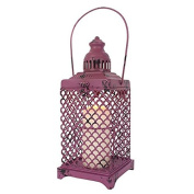 Purple Metal Lantern/Candle Holder - Shabby Chic/Distressed Style - H:42.00 x W:12.50 x D:12.50