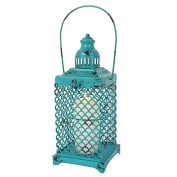 Turquoise Metal Lantern/Candle Holder - Shabby Chic/Distressed Style - H:42.00 x W:12.50 x D:12.50