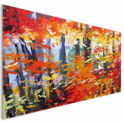 Orange Paint Modern Abstract Acrylic Glass Wall Art - XL 140cm x 70cm