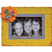 Caffco International Metal Picture Frame with Flower Magnet Memorabilia Holder, Holds a 10cm by 15cm Photo, Distressed Yellow and Blue