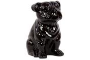 Benzara Smooth & Shiny Ceramic Sitting Bull Dog, Black