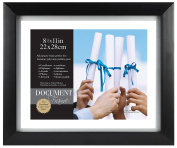 MCS Wood Float Frame, 28cm x 34cm Opening, for 22cm x 28cm Certificates, Black Frame with Silver Accent