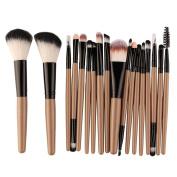 . DELOITO Coffee Wool 18 pcs Makeup Brush Set Professional Make-up Toiletry Kit