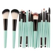 DELOITO 18Pcs Green Nylon Makeup Brushes Set Professional Essential Foundation Powder Eyeshadow Cosmetic Brush Tool