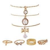 Youkara 7 pcs Golden Heart Ring Butterfly Pendant Necklace s for Teen Girls Women