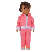 HKFV Unique Charming Sports Sweaters Suiting Set Design American Dolls Decor Wearing Velour Jogging Sports Suit Matching Pants For 46cm American Girl Doll