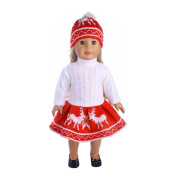 HKFV Charming Fashion Bohemian Style Wearing Decor For American Dolls Snuggly Cute Sweater Outfit Reindeer Snowman Sweater & Cap For 46cm American Girl Doll