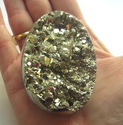 NATURAL PYRITE FOOLS GOLD CRYSTAL LARGE EGG LOVELY CUBE STRUCTURES 216g 60mm st99