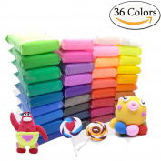 Szsrcywd 36 PCS Colourful Kids Modelling Soft Clay Air Dry Clay Studio Toy 36 Bright Colour No-Toxic Modelling Clay Creative DIY Crafts