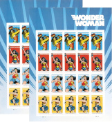 USPS 2016 Wonder Woman Set of 2 Sheet of 20 Forever Stamps .