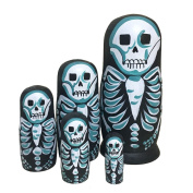 Debbieicy 5Pcs Beautiful Handmade Wooden Russian Nesting Dolls Skull Matryoshka dolls Gift for Halloween and Birthday - Stacking Doll Set of 5 From 16cm Tall