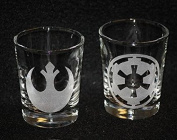 Rebel Empire Set of 2 Star Wars Inspired Logo Shot Glasses Laser Engraved