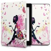 kwmobile Elegant synthetic leather case for the Kobo Aura ONE Design fairy girl in multicolor dark pink white