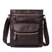 GTUKO Genuine Leather Men'S Bags Messenger Bag Men'S Shoulder Bag Vintage Zipper Crossbody Shoulder Bag Genuine Leather 7118 , Deep Coffee