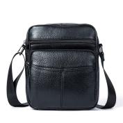 GTUKO Casual Genuine Leather Bags Men Bag Male Shoulder Crossbody Bags Business Mens Messenger Bag Men Leather 7602 , Black