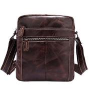 GTUKO Cowhide Genuine Leather Men Bag Shoulder Crossbody Bags Vintage Small Male Flap Men'S Leather Bag Men Messenger Bags 1187 , Coffee