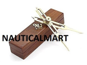 Nauticalmart 15cm Full Brass Proportional Divider 15cm with Anchor Inlaid Box