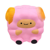 huichang Pink Soft Sheep Squishy Slow Rising Squeeze Stress Reliever Toy Phone Straps Ball Chains