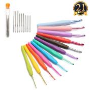 ARTISTORE 12 Colourful Crochet Hooks Eye Blunt Needles Ergonomic PLUS Crochet Hooks Set Best Gift FOR Elder mm