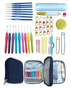 Tmade Ergonomic Crochet Hooks Set with 9PCS Soft Handle Crochet Hooks & 8PCS Lace Hooks & 35PCS Crochet Tool Accessories Crochet Kit with Zipper Sturdy Case