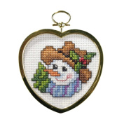 Jolly Snowman Ornament With Frame Cross Stitch Kit