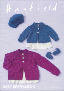 Sirdar/Hayfield Baby Sparkle DK 100g Knitting Pattern - 4659 Cardigan, Beret & Shoes