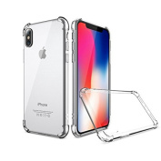 iPhone X Case by Nitrosimus, Silicone Gel, Slim, Screen Protector Compatible, Clear, Shock proof Bumper Hybrid, Transparent, Dust Proof, TPU iPhone X Case
