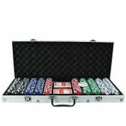 Vegas Style Texas Holdem Professional 500 Poker Chips Set Playing Cards Casino Games - Includes Dealer Button, Poker Dice With Poker Chip Rack And Storage Briefcase