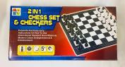 CHESS SET & CHECKERS FOLDABLE BOARD MAGNATIC BOARD