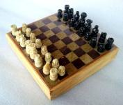 Premium Quality Stone Pieces Carved Chess Board 20cm Classic Handmade Game Set Antique Showpiece