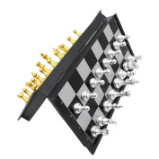 Chess Set, ICEBLUEOR Portable Classic Folding Travel Magnetic Chess Set with Aluminium Plating for Kids Board Games, 9.7 x 25cm x 2cm