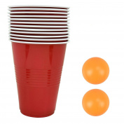 Original Adult Drinking Game Beer Pong Set Tournament Kit 2 Ping Pong Balls 12 Red Plastic Cups- Ideal For Student Party Nights & Friendly Fun