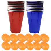 Original Adult Drinking Game Beer Pong Set Tournament Kit 24 Ping Pong Balls 24 Red Plastic Cups- Ideal For Student Party Nights & Friendly Fun