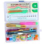 Kingko® Basic Knitting Tools Accessories Supplies Set with Case,Aluminium Hooks,Stitch Markers.etc