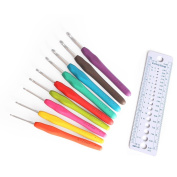Crochet Hooks Set -9Pcs Colourful TPR Soft Plastic Handle Aluminium Crochet Knitting Needles Knitting Knit 2.5mm-6.0mm DIY Crafts Tool with Knitting Gauge Measure Ruler