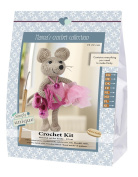 Go hand made 80067 Mouse Emily 1 Learn to Crochet, Cotton, Grey/Pink, 16 x 7 x 22 cm