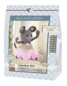 Go hand made 80065 Mouse, Ella 1 Learn to Crochet, Cotton, Grey/Pink, 16 x 7 x 22 cm