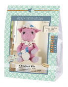 Go Hillary Hand Made 80063 Pig 1 Learn to Crochet, Cotton, Pink/White/Blue, 16 x 7 x 22 cm