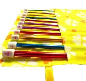 Seawhisper 12pces Aluminium Tunisian Afghan Crochet Hook Knitting Needles Set 2mm-9mm in a Yellow/Pink Pouch